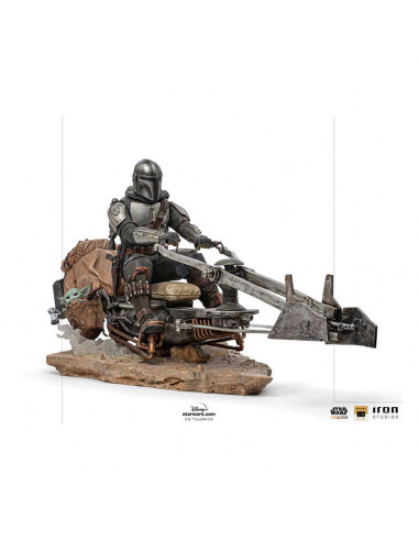 es::Star Wars The Mandalorian Estatua 1/10 Deluxe Art Scale Mandalorian on Speederbike 18 cm
